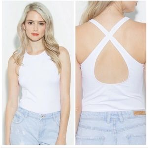 Seamless Top With Criss Cross Back